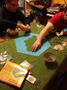Colin came for a visit and we played Settlers of Catan while eating black bean soup.
